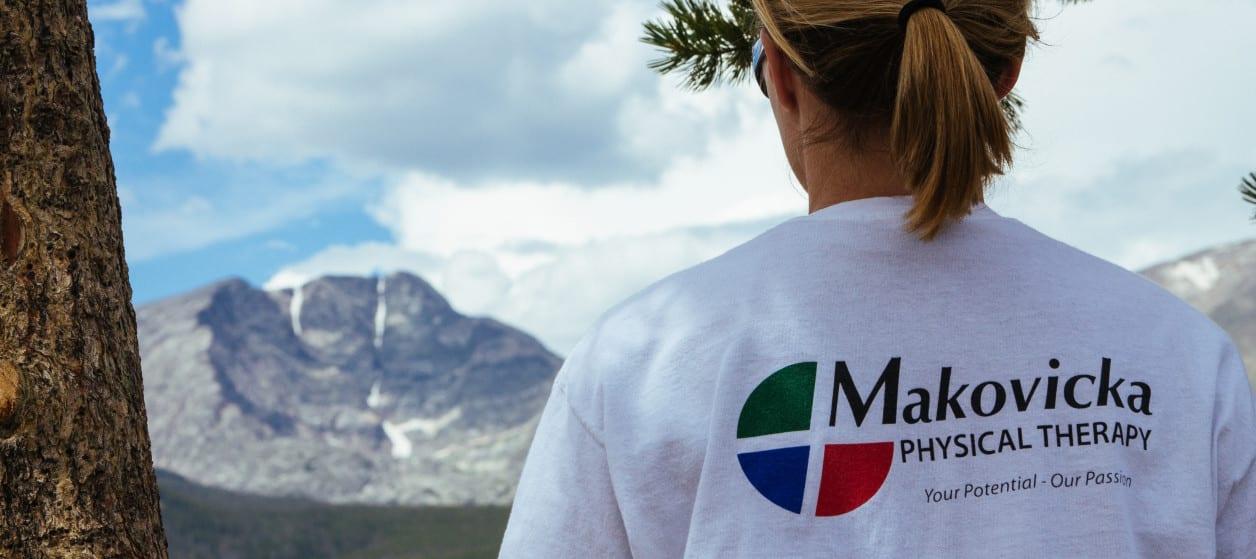 girl wearing Makovicka Physical Therapy t-shirt